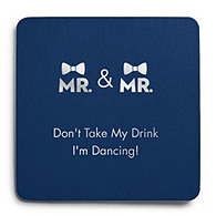 Deluxe Personalized Wedding Coasters - Mr & Mr Double Bowtie