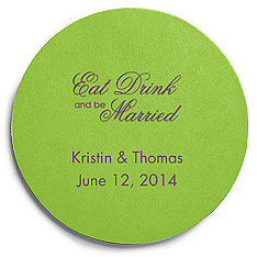 Deluxe Personalized Wedding Coasters - Eat, Drink (Script)