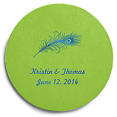 Deluxe Personalized Wedding Coasters - Peacock Feather