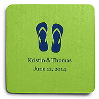 Deluxe Personalized Wedding Coasters - Flip-flops