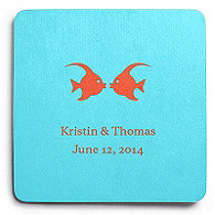 Deluxe Personalized Wedding Coasters - Kissing Fish