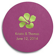 Deluxe Personalized Wedding Coasters - Hibiscus