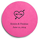 Deluxe Personalized Wedding Coasters - Heart and Arrow