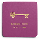 Deluxe Personalized Wedding Coasters - Key