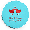 Deluxe Personalized Wedding Coasters - Lovebirds