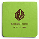 Deluxe Personalized Wedding Coasters - Leaves