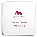 Deluxe Personalized Wedding Coasters - Light My Fire