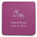 Deluxe Personalized Wedding Coasters - Mr and Mrs