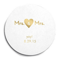 Deluxe Personalized Wedding Coasters - Mrs & Mrs