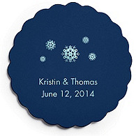 Deluxe Personalized Wedding Coasters - Snowflakes