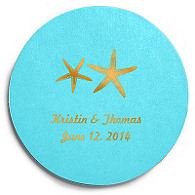 Deluxe Personalized Wedding Coasters - Starfish