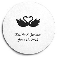 Deluxe Personalized Wedding Coasters - Swans