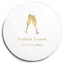 Deluxe Personalized Wedding Coasters - Toasting Flutes