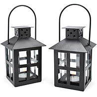 Mini Lantern Tealight Holder - Black