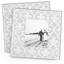 Fleur de lis Glass Photo Coasters