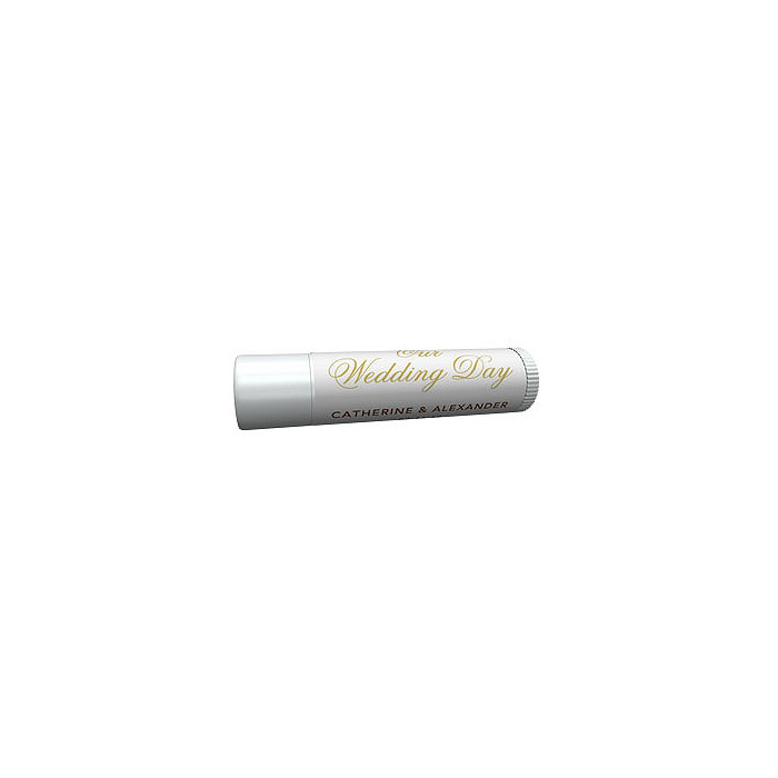 Personalized Lip Balm Tube Favors - Our Wedding Day (Gold)