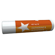 Personalized Lip Balm Tube Favors - Stars (Orange)