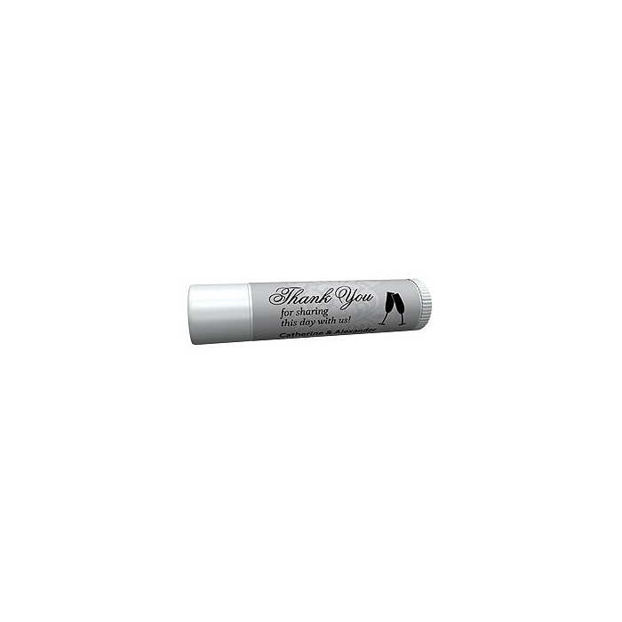 Personalized Lip Balm Tube Favors - Toasting Flutes (Silver)