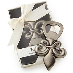 fleur de lis pewter-finish bottle opener favor