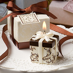 Gift Box Candle Favor - Ivory and Brown