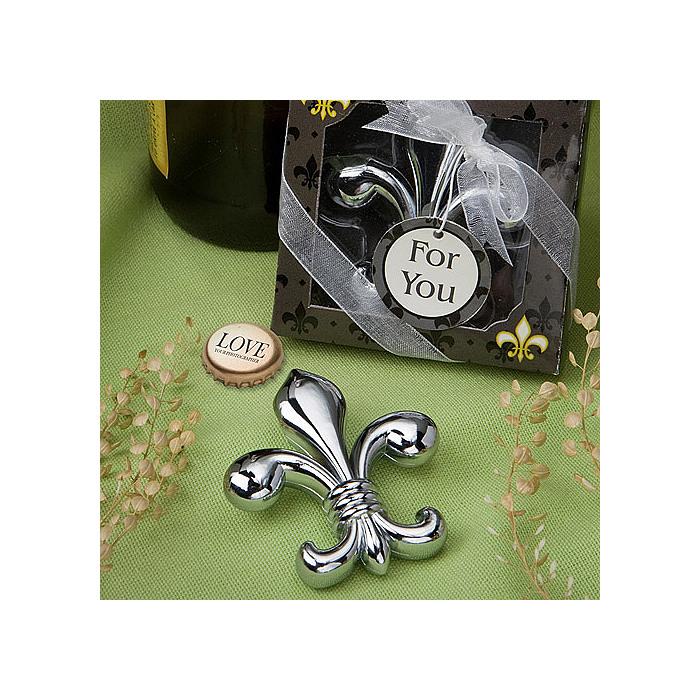 Fleur de lis chrome finish bottle opener favor - Fleur de lis bottle opener ...