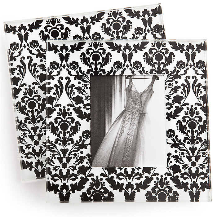 Damask Glass Photo Coaster Favor Set