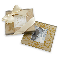 golden brocade elegant glass photo coaster favors