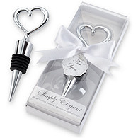 Simply Elegant Chrome Heart Bottle Stopper Favor
