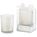 """Hugs & Kisses From Mr. & Mrs."" Frosted Glass Tealight Holder"