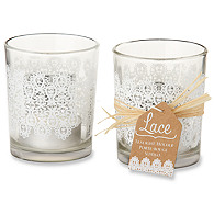 Lace Frosted Glass Tealight Holder