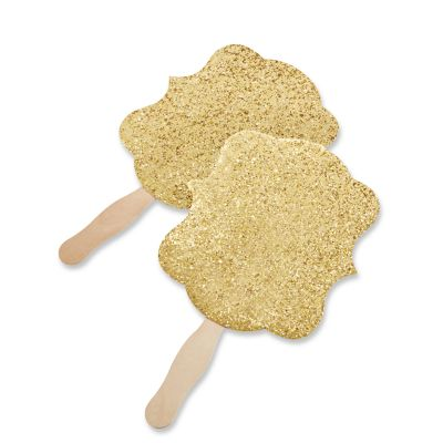 Gold Glitter Hand Fans