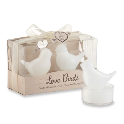 Love Birds White Tea Candles