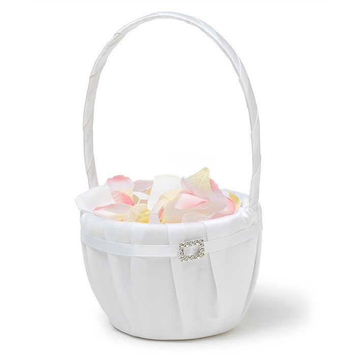 The Knot Rhinestone Flower Girl Basket - White