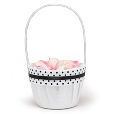 The Knot Polka-dot Collection Flower Girl Basket – Black and White