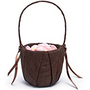 The Knot Colored Silk Flower Girl Basket - Chocolate