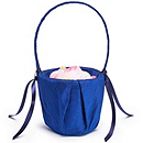 The Knot Colored Silk Flower Girl Basket - Navy