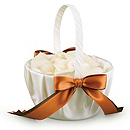 Two-Ribbon Custom Color Flower Girl Basket - Ivory