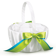 Two-Ribbon Custom Color Flower Girl Basket - White
