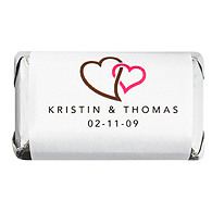 Personalized HERSHEY'S MINIATURES® Chocolates - Double Heart (Brown)