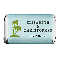 Personalized HERSHEY'S MINIATURES® Chocolates  - Palm Trees (Blue)