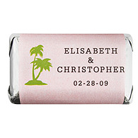 Personalized HERSHEY'S MINIATURES® Chocolates - Palm Trees (Pink)