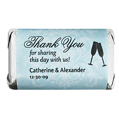 Personalized HERSHEY'S MINIATURES® Chocolates - Toasting Flutes (Blue)