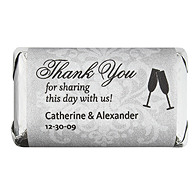Personalized HERSHEY'S MINIATURES® Chocolates - Toasting Flutes (Silver)