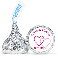 Personalized HERSHEY'S® Kisses - Two Hearts (Pink)