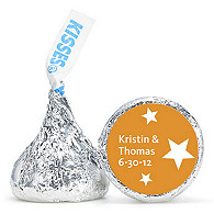 Personalized HERSHEY'S® Kisses - Stars (Orange)