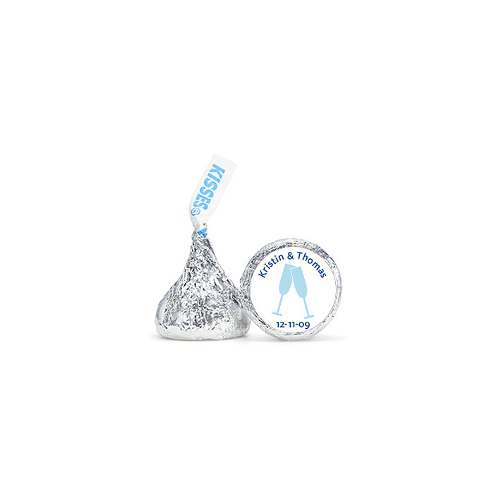 Personalized HERSHEY'S® Kisses - Toasting Flutes (Blue)