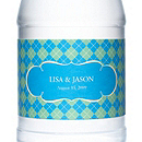 Personalized Water Bottles - Argyle (Blue)