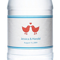 Personalized Water Bottles - Lovebirds (Red)