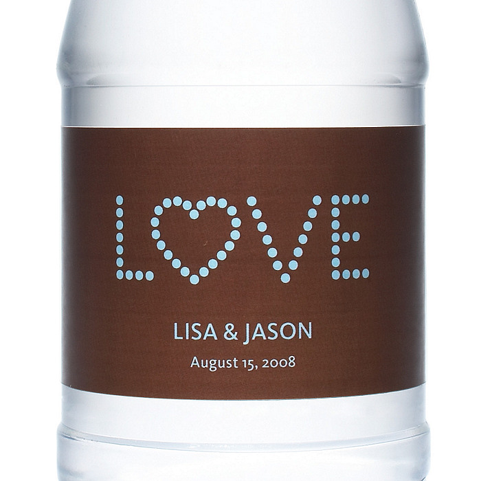 Personalized Water Bottles - LOVE (Blue, Brown)