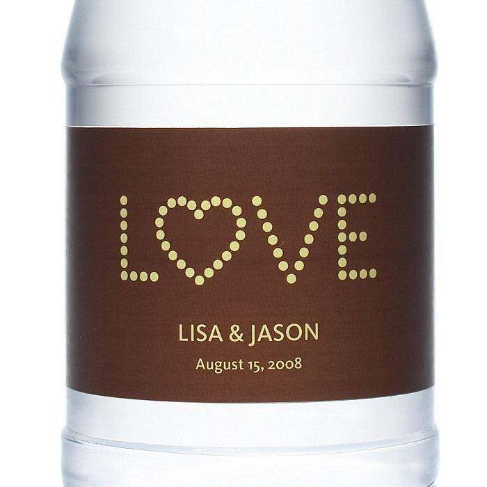 Personalized Water Bottles - LOVE (Yellow/Brown)